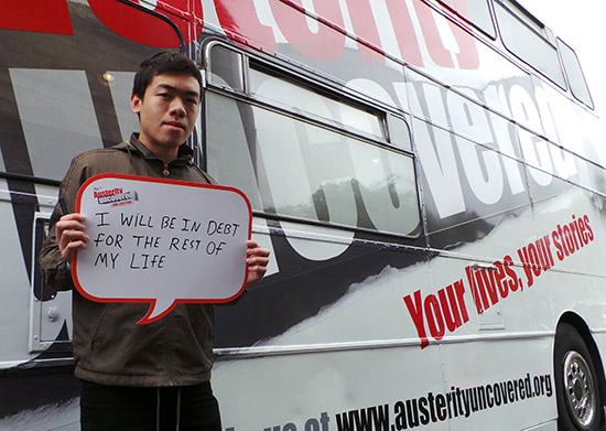 Nelson, 19, is worried he'll spend the rest of his life paying off his student debts
